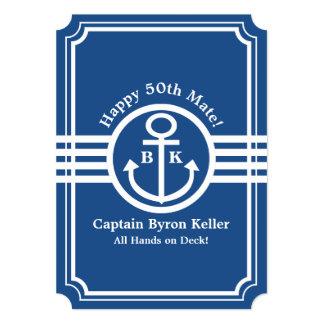 Birthday on a Boat - Nautical Theme Custom 5x7 Paper Invitation Card