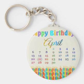Birthday on April 21st, Colorful Birthday Candles Key Chain