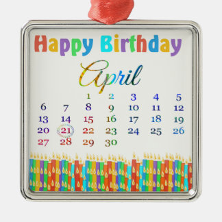 Birthday on April 21st, Colorful Birthday Candles Metal Ornament