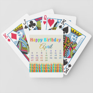 Birthday on April 21st, Colorful Birthday Candles Bicycle Poker Cards