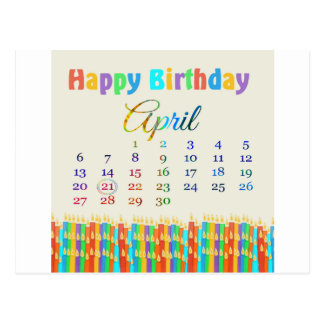 Birthday on April 21st, Colorful Birthday Candles Postcard