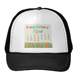 Birthday on April 21st, Colorful Birthday Candles Trucker Hat