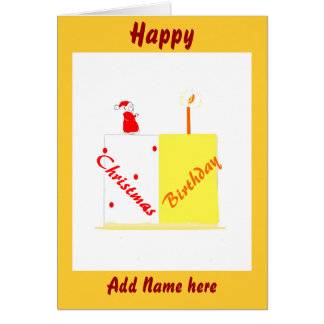 Birthday on Christmas customizable card