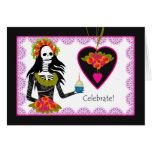 Birthday on Dia de los Muertos, Skeleton, Cupcake Card