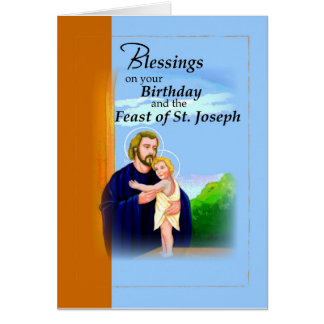 Birthday on Feast of St. Joseph Blue and Brown Card