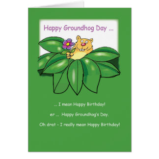 Birthday on Groundhog Day with Flowers Green Greeting Card