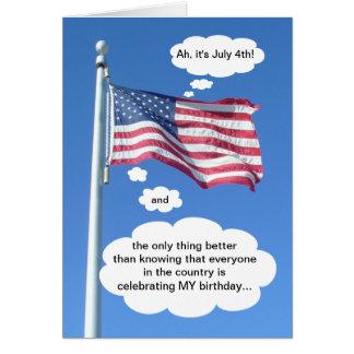 Birthday on July 4th Card