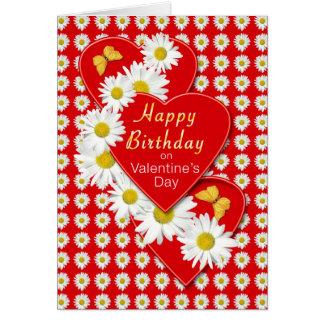 Birthday on Valentine's Day Daisy Hearts Card