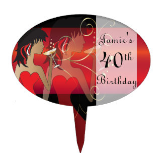 Birthday or Bachelorette Cocktail Girl - Red Cake Topper