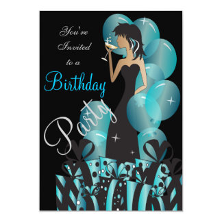 Birthday or Bachelorette Cocktail Party Girl Card