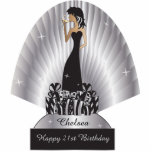"""Birthday or Bachelorette Diva Girl   Silver Cutout<br><div class=""""desc"""">Free-standing Party Girl Cutouts. Makes a great conversation starter! This adorable DIY party table/cake topper will be a giant hit at her party. 100% Customize-able. Perfect for her Birthday, a Bachelorette Party, a Girl Night Out, etc... Choose your size. Ready to Fill in the box(es) or Click on the CUSTOMIZE...</div>"""