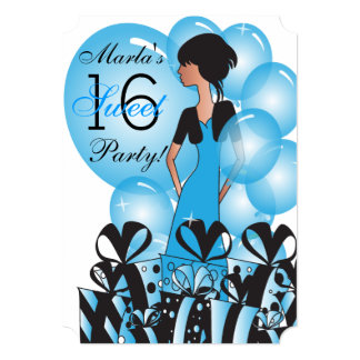 Birthday or Bachelorette Girl in Blue Card