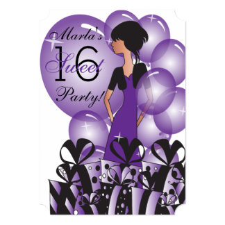 Birthday or Bachelorette Girl in Purple Card