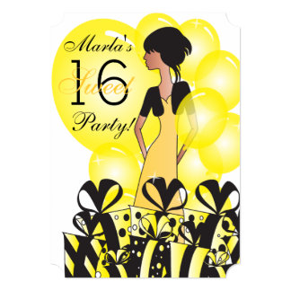 Birthday or Bachelorette Girl in Yellow |Customize Card