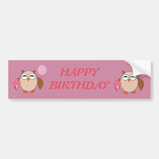 Birthday Owl Custom Car Sticker