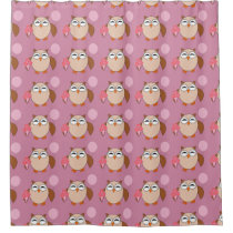 Birthday Owl Shower Curtain
