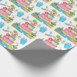 Birthday Owls and Cake Wrapping Paper