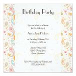 Birthday - Paisley, Hearts, Dots - Orange Blue 5.25x5.25 Square Paper Invitation Card