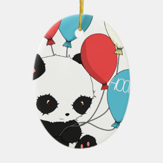 Birthday Panda with balloons Ceramic Ornament