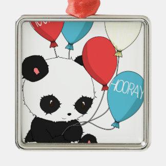 Birthday Panda with balloons Metal Ornament
