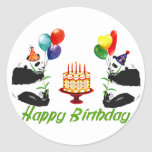 Birthday Pandas Classic Round Sticker