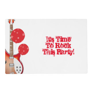 Birthday, paper place mat, guitar, red, white. placemat