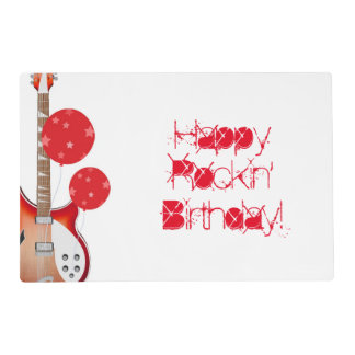 Birthday, paper placemat, guitar, red, white. placemat