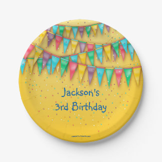 Birthday Paper Plates, Colorful Bunting Paper Plate