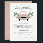 """Birthday parade drive by pink car green foliage invitation<br><div class=""""desc"""">Drive by birthday pink car green foliage birthday Invitation</div>"""