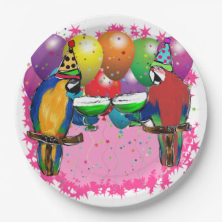 BIRTHDAY PARROTS PAPER PLATE