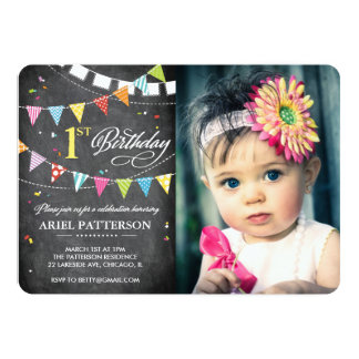 Birthday Party | 1st Birthday Flags Chalkboard 5x7 Paper Invitation Card