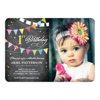 Birthday Party | 1st Birthday Flags Chalkboard Card