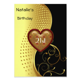"Birthday Party 21st Gold and Black 5"" X 7"" Invitation Card"