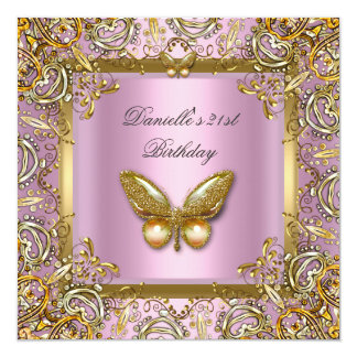 Birthday Party 21st Gold Pink Butterfly Lace Image Card