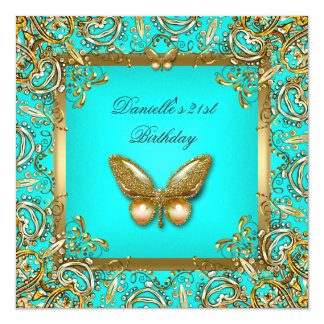 Birthday Party 21st Gold Teal Butterfly Lace Image Card