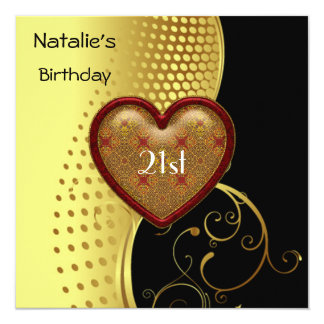 "Birthday Party 21st Heart Gold and Black 5.25"" Square Invitation Card"