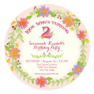 """Birthday Party 2 Years Old Girl, Watercolor Floral 5.25"""" Square Invitation Card"""