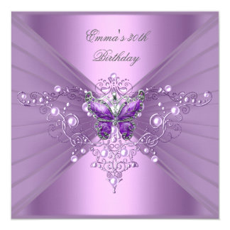 Birthday Party 30th Lilac Pearl Purple Butterfly Card