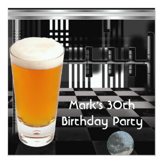 Birthday Party 30th Mens Beer Black White Silver 5.25x5.25 Square Paper Invitation Card