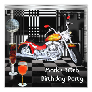 Birthday Party 30th Mens Bike Drinks Black White 5.25x5.25 Square Paper Invitation Card