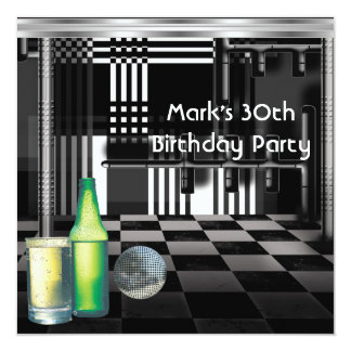 Birthday Party 30th Mens Drinks Black White Silver 5.25x5.25 Square Paper Invitation Card