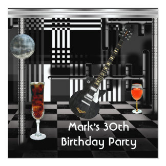 Birthday Party 30th Mens Guitar Drinks Black White 5.25x5.25 Square Paper Invitation Card