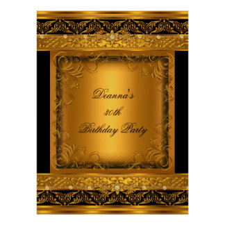 Birthday Party 30th Metallic Gold Black Diamond Personalized Invites