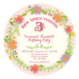 Birthday Party 3 Years Old Girl Watercolor Floral Invitation