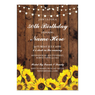 Birthday Party 40th 50th 60 Sunflower Wood Invite