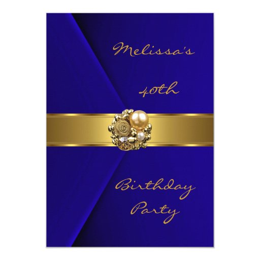 Birthday Party 40th Blue Velvet gold pearl jewel Card