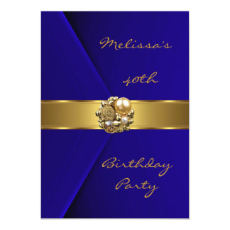 Birthday Party 40th Blue Velvet gold pearl jewel 5x7 Paper Invitation Card
