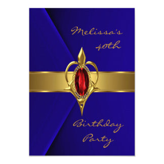 Birthday Party 40th Blue Velvet Red gold jewel Card