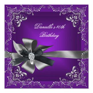 Birthday Party 40th Purple Silver Black Grey Card