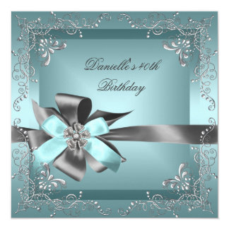 Birthday Party 40th Teal Blue Silver Grey Card